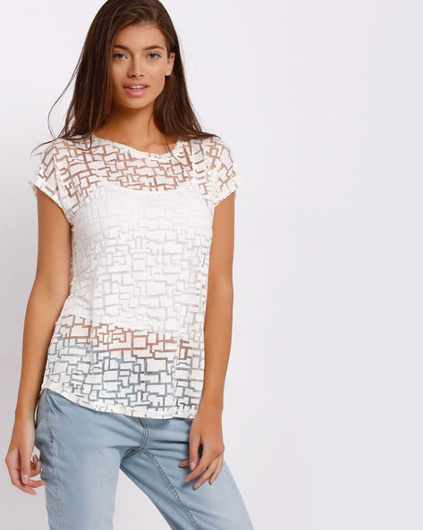 Sheer Top With Extended Sleeves By FIG ( Pink )