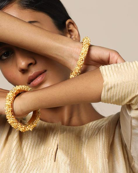 Filigree Pearl-Clustered Paired Bangles By Rubans ( Gold )