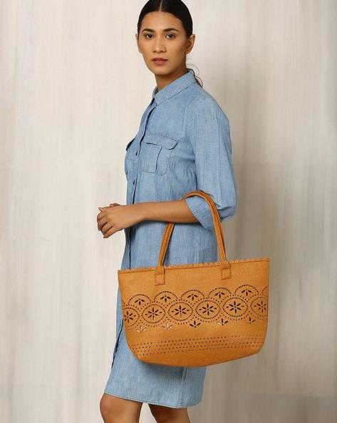 Felt Handbag With Cutwork By Indie Picks ( Brown )
