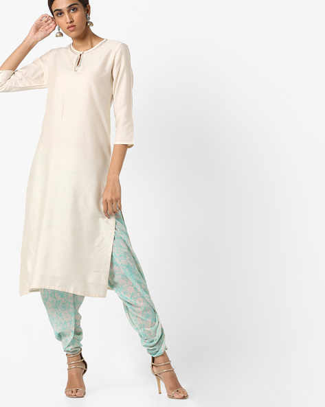 Straight Kurta With Bead Embroidery By AJIO ( Offwhite )