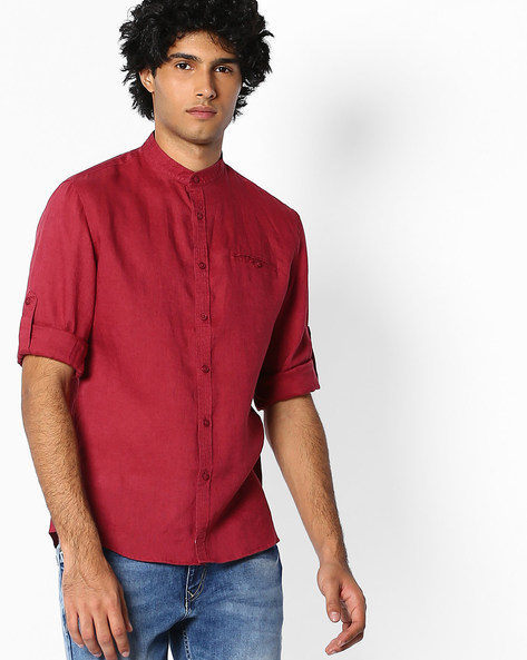 Pure Linen Shirt With Mandarin Collar By Celio ( Red )