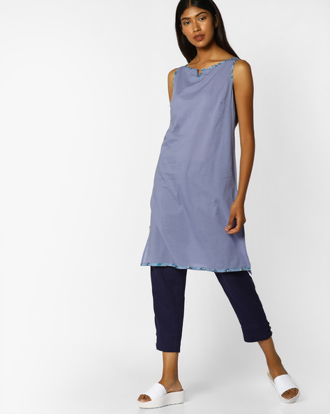 Straight Sleeveless Kurta By AJIO ( Blue )