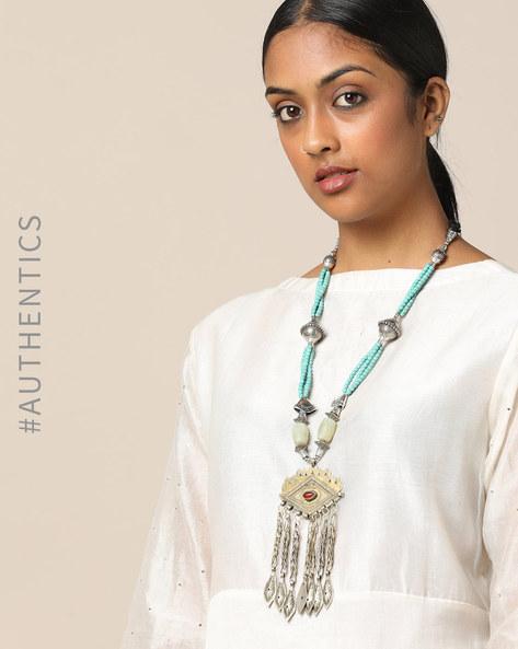 Afghan Tribal Beaded Long Necklace By Indie Picks ( Blue ) - 460178425001