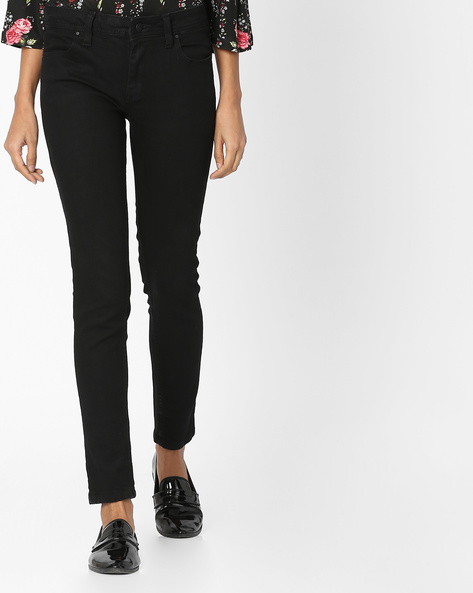 Skinny Fit Ankle-Length Jeans By Alibi ( Black )