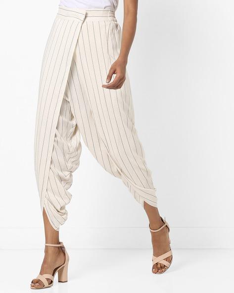 Dhoti Style Striped Pants By W ( White )