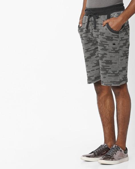 Drop-Crotch Camo Shorts With Tie-Up By PROLINE ( Greymelange )