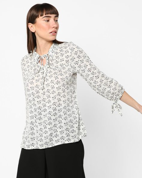 Floral Print Top With Tie-Up By BOSSINI ( Offwhite )