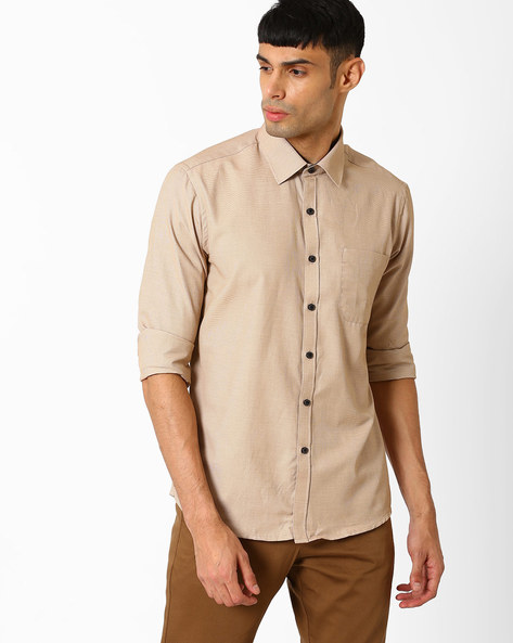 Regular Fit Casual Shirt By NETWORK ( Beige )