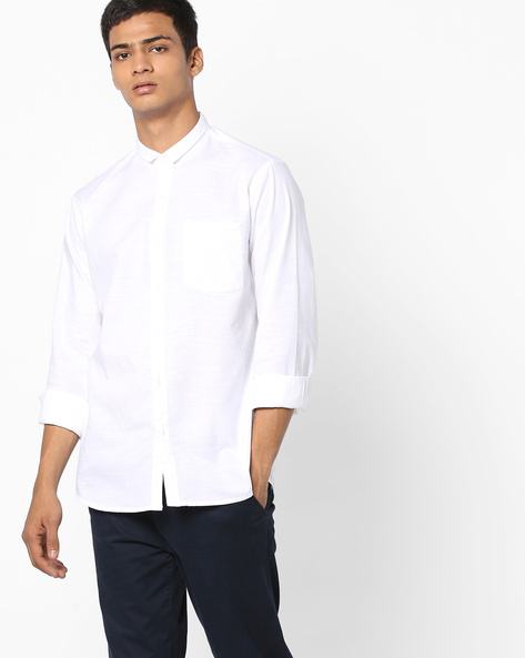 Slim Fit Shirt With Patch Pocket By AJIO ( White )