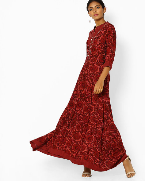Floral Print A-line Dress With Asymmetric Hem By Shree ( Rust )