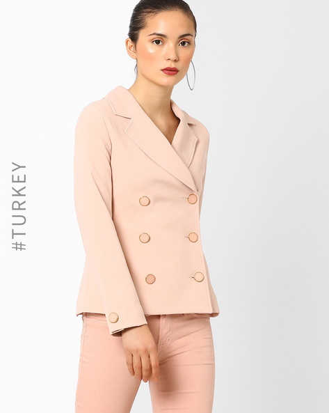 Double-Breasted Blazer With Notched Lapel By Closet London ( Pink )