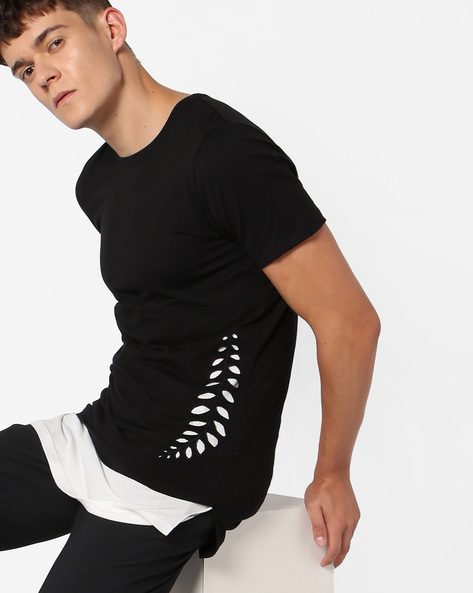 Slim Fit Longline T-shirt With Cut-Outs By KULTPRIT ( Black )