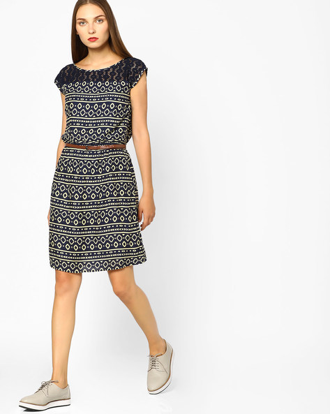 Printed Sheath Dress With Lace Yoke By BOSSINI ( Navy )