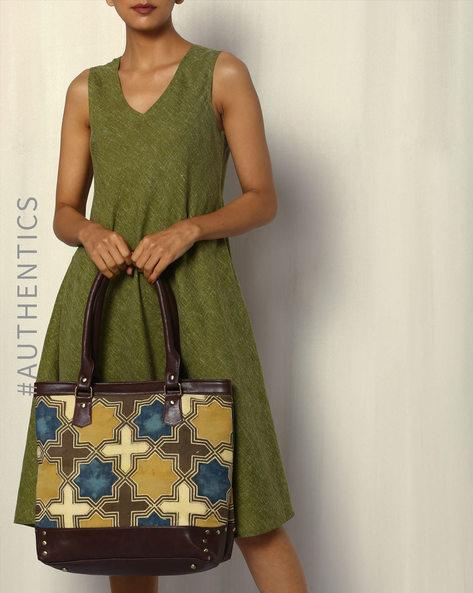 Handblock Print Ajrak Vegan Leather Tote Bag By A BIG INDIAN STORY ( Brown )