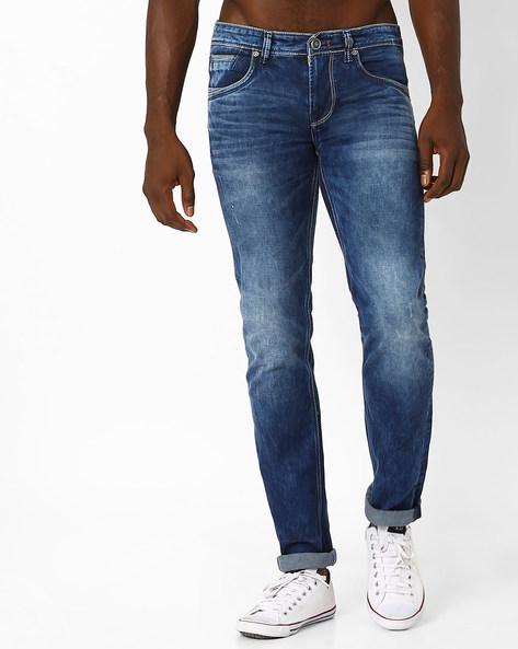 Mid-Wash Slim Fit Jeans By Killer ( Indigo )