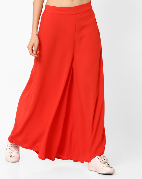 Palazzo Pants With Elasticated Back-Waist By W ( Black )