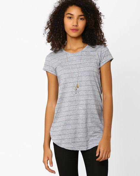 Striped Top With Curved Hem By DNM X ( Medgrey )