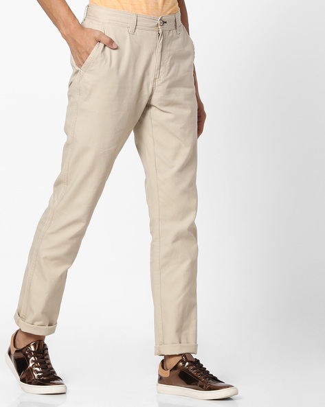 Flat-Front Chinos By NETPLAY ( Khaki )