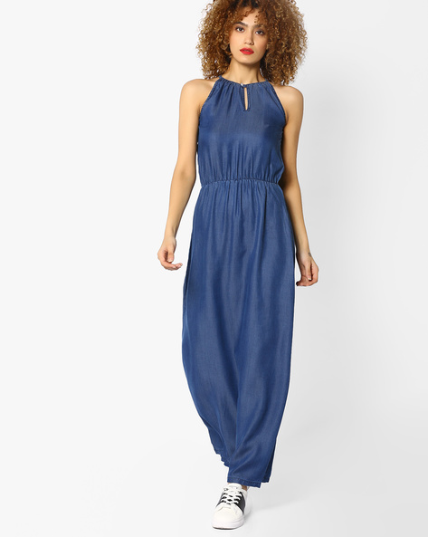 Maxi Dress With Keyhole Neckline By And ( Lightblue )