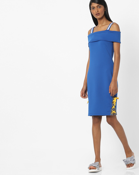 Panelled Pinofore Dress With Lace-Up Fastening By AJIO ( Blue )
