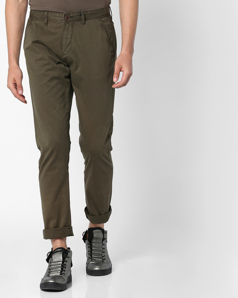 Mid-Rise Slim Fit Chinos By AJIO ( Olive )
