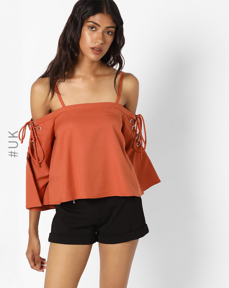 Strappy Off-Shoulder Top With Lace-Ups By INFLUENCE ( Rust )