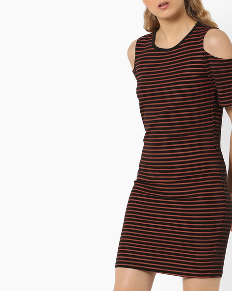 Striped Bodycon Dress With Cold-Shoulder Sleeves By ANONYMOUS CO ( Redorange )