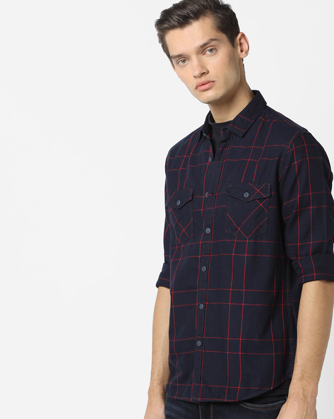 Checked Shirt With Buttoned Flap Pockets By AJIO ( Black )