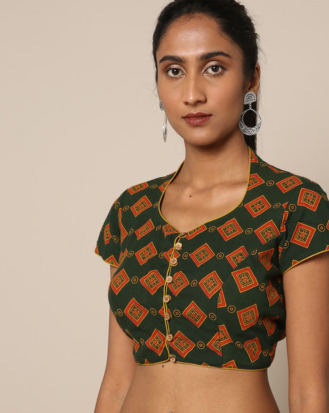 Ajark Print Cotton Blouse By Indie Picks ( Green )