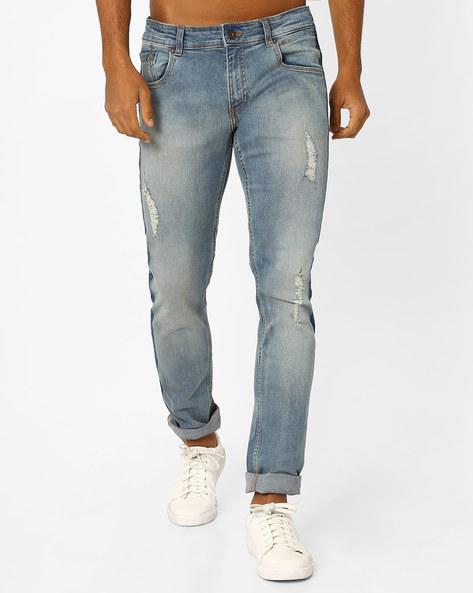 Distressed Slim Fit Jeans By Jack & Jones ( Midnightblue )