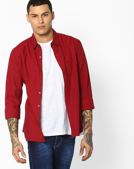 Cotton Shirt With Spread Collar By LEVIS ( Red )