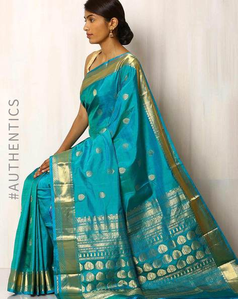 Handwoven Pure Silk Saree By Rudrakaashe-MSU ( Seablue )