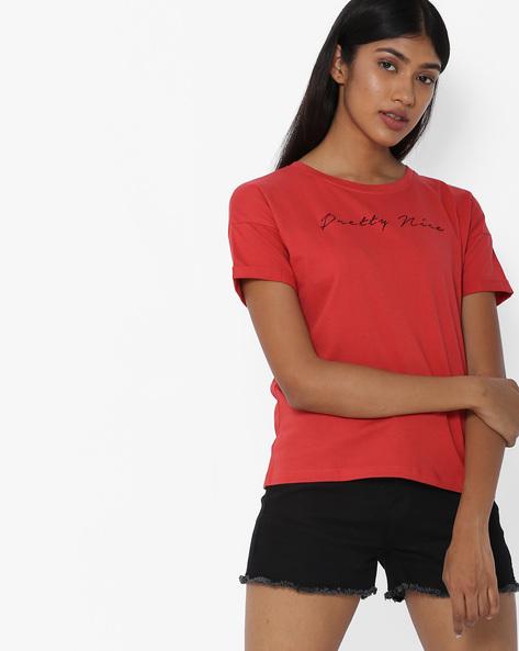 T-shirt With Drop-Shoulders By Blue Saint ( Coral )