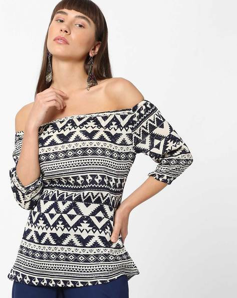 Printed Off-Shoulder Top By BOSSINI ( Navyblue )