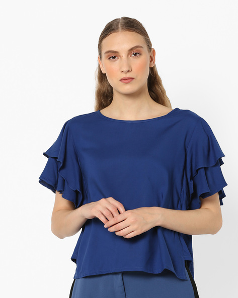 Top With Ruffled Sleeves By And ( Blue )