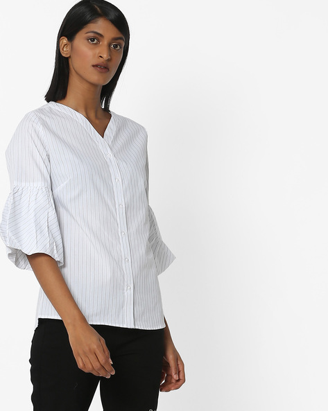 Striped Shirt With Bell Sleeves By FIG ( White )