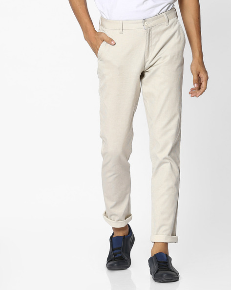 Mid-Rise Cotton Chinos By British Club ( Cream )