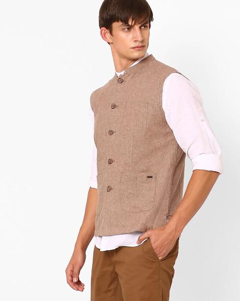 Slim Fit Nehru Jacket By NETPLAY ( Khaki )