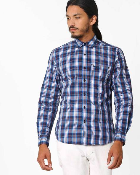 Yarn-Dyed Checked Regular Fit Shirt By WRANGLER ( Blue )