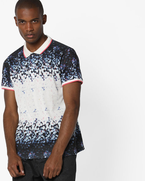 Printed Polo T-shirt With Contrast Tipping By RexStraut JEANS ( Blue )