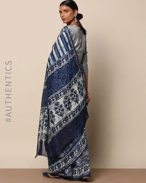 Handblock Indigo Print Chanderi Saree With Zari By Indie Picks ( Indigo ) - 460146836001