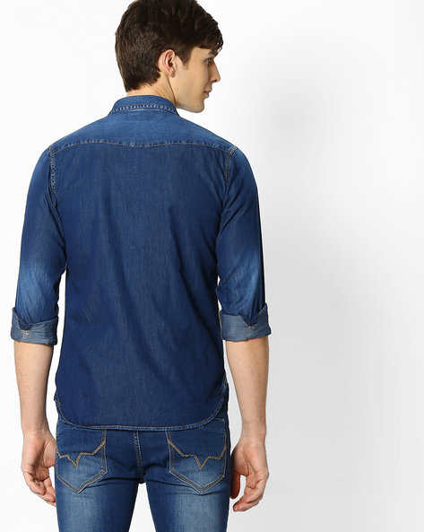 Washed Denim Shirt With Angled Yoke By Pepe Jeans ( Blue )