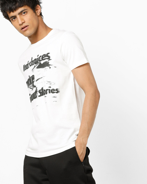 Typographic Print Slim Fit T-shirt By Jack & Jones ( White )