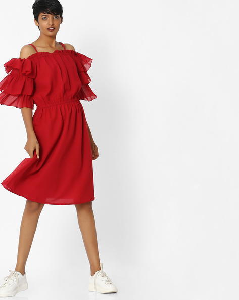 A-line Dress With Tiered Ruffle Sleeves By Rena Love ( Red )