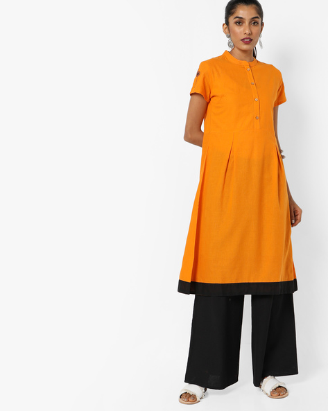 A-line Kurta With Mandarin Collar By AJIO ( Mustard )