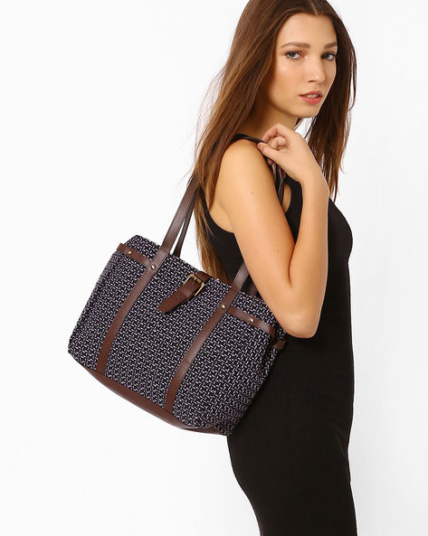 Jacquard Tote Bag By AJIO ( Navy )