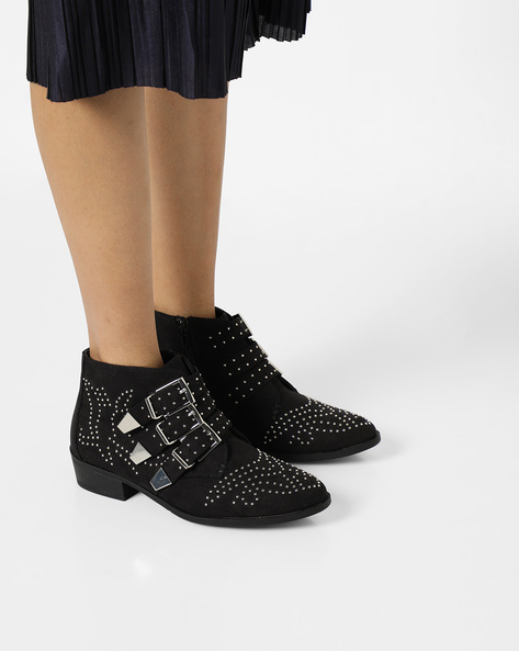 Embellished Boots With Buckles By Truffle Collection ( Black )