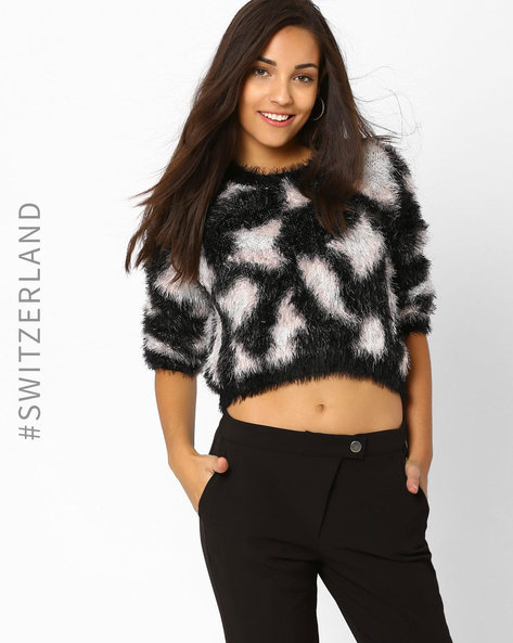 Faux Fur Cropped Pullover By TALLY WEiJL ( Multi )