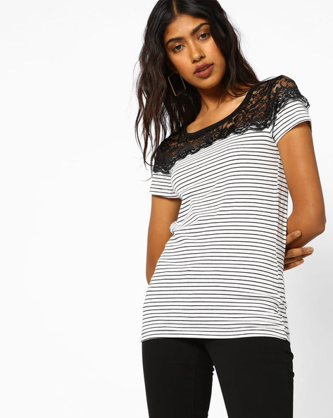 Striped Top With Lace Yoke By BOSSINI ( Offwhite )