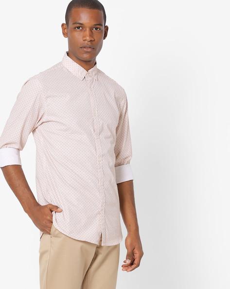 Printed Shirt With Button-Down Collar By AJIO ( Orange )